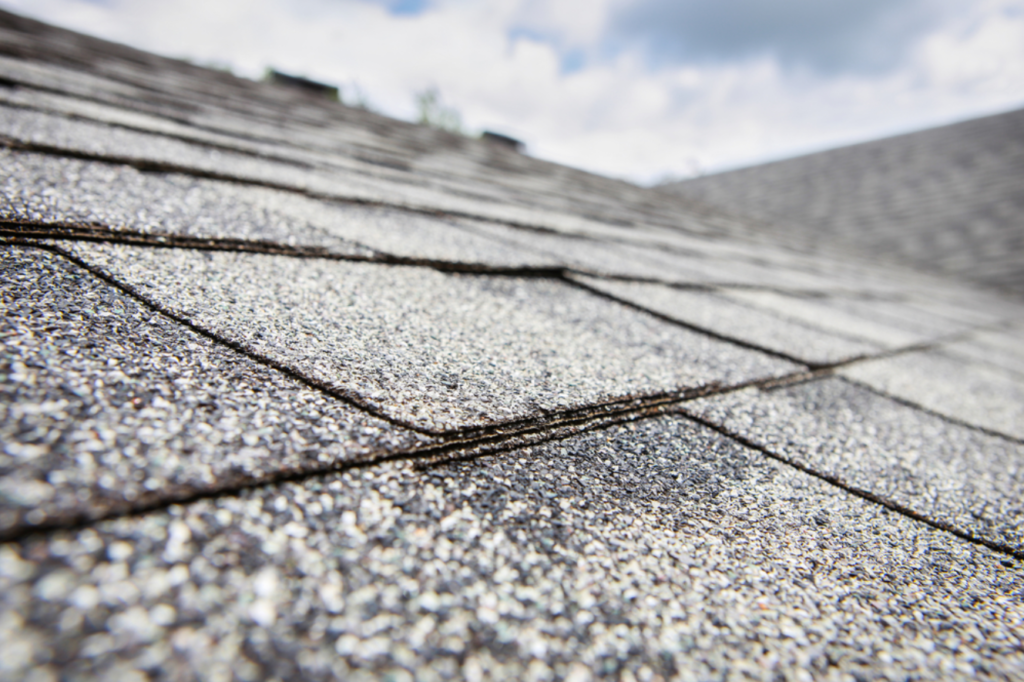 Close up of roof shingles